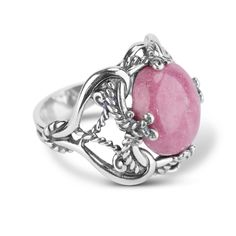 Charming hues of pink to make you smile! A round cabochon of delicate pink rhodonite with sterling silver twisting scrollwork is a dreamy addition to your jewelry box. Wear this ring out for a romantic evening or with friends on a beautiful spring day. Pink Jewelry, Cute Jewelry, Metal Jewelry, Sterling Silver Jewelry, Gemstone Jewelry, Jewelry Gifts, Silver Rings, Jewelry Box, Jewellery