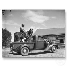 All you need... a good horse, an loyal dog and a classic truck!