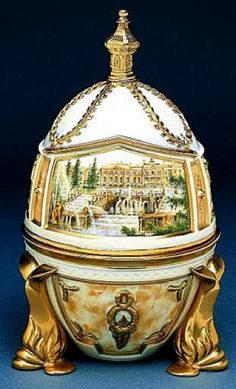 "(3)(1) FABERGE eggs__Theo Faberge -6__ ""Peterhof Egg"" The surprise, a replica of the Throne Room of the Great Palace detailed with the portrait of Catherine the Great."