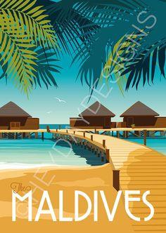 Travel Illustration, Landscape Illustration, Places To Travel, Travel Destinations, Vacation Travel, Beach Travel, Art Deco Posters, Poster Prints, Maldives Travel