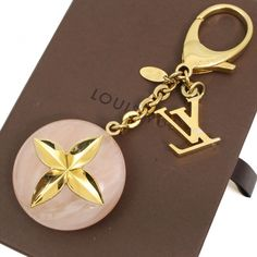 U2514E Authentic Louis Vuitton Key Chain Ring LV Lock Flower Charm Gold Pink Box | eBay