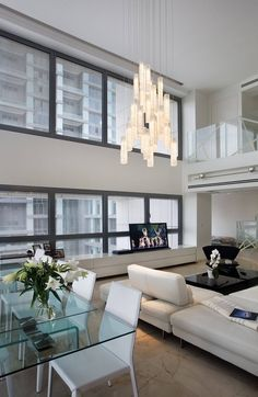 WHITE CANDLES| Modern entry chandelier led, Contemporary two story foyer chandelier, modern long sta