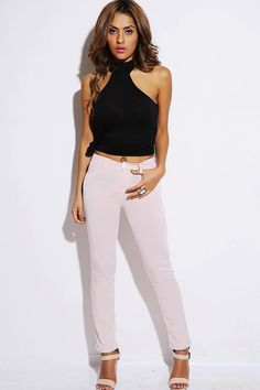 #1015store.com #fashion #style blush pink fitted moleton skinny jegging pants-$15.00