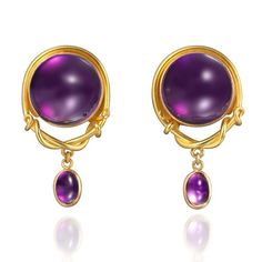2016 EXHIBITOR OF THE DAY: See @pollygasstongoldsmith & her unique jewels inspired by goldsmiths of the Ancient Near East & the late Roman Empire. Polly will be exhibiting in week 2 stand 57 > (Link in bio) Image: 22ct gold & cabochon amethyst earrings. #Jewellery #Jewelry #Gems #Jewels #Gemstones #Amethyst #Earrings #Cabochon #gold #Ancient #Design #Handmade