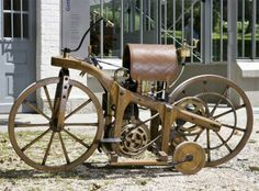 In 1885, Gottlieb Daimler built his first bike, wooden bike. The first successful tests of the motorcycle passed November 10, 1885. www.steampunktendencies.com
