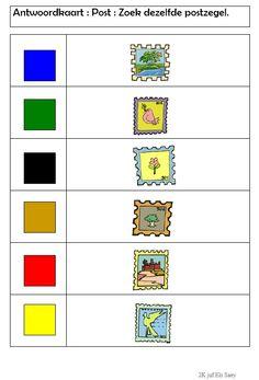 Knijpkaart : Zoek dezelfde postzegel -> antwoordkaart Kindergarten, School, Projects, Paper, Schools, Preschool, Kindergartens, Day Care, Preschools