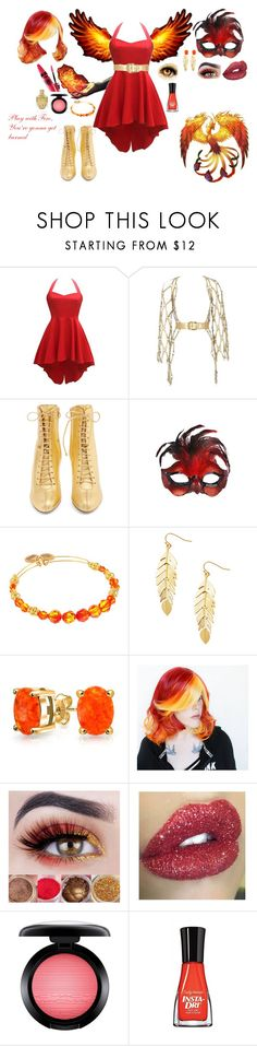 """""""Don't Mess With The Phoenix- Play With Fire, You're Gonna Get Burned"""" by princess-cindy-dorough ❤ liked on Polyvore featuring Zana Bayne, Jimmy Choo, Masquerade, Alex and Ani, Humble Chic, Bling Jewelry, MAC Cosmetics and Sally Hansen"""