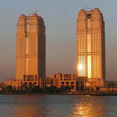 Nile City Towers, Cairo, 2002-3, by Atelier d'Art Urbain (Belgian)