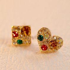 [$17.00] Heart Box Diamond Earrings Asymmetric Crystal Earrings - Free Shipping