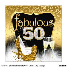 Fabulous 50 Birthday Party Gold Diamond Glitter Card