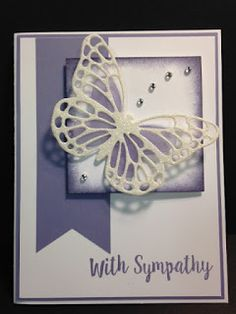 I gave the sympathy card do-over a lot of thought.  I decided to go with Wisteria Wonder for the color.  I'm much happier with this card ...