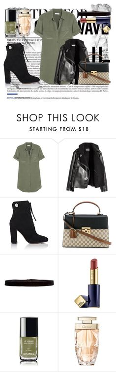 """""""GEx"""" by vickyyates on Polyvore featuring beauty, Equipment, Gianvito Rossi, Gucci, Steve Madden, Estée Lauder, Chanel and Cartier"""
