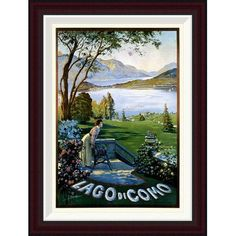 Global Gallery Lago di Como by Elio Ximenes Framed Vintage Advertisement Size: