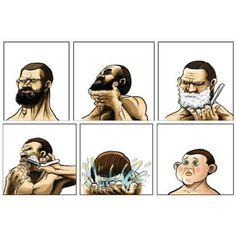 A barba muitas vezes faz parte da identidade visual do homem.  Quem passa pela mesma situação da tirinha?