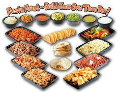 Chicken, beef, cheese, lettuce, sour cream, salsa, guacamole, onions, pico de gallo, dip, refried beans, Mexican rice, tomatoes