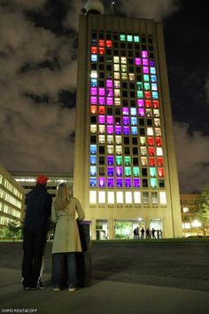Tetris Hack: 153 windows, 153 pixels - the front of the MIT's Green Building lit up in a colorful display of the popular puzzler Tetris!