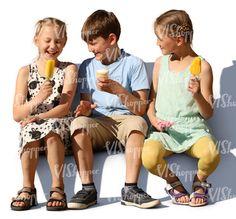 Three children sitting and eating ice cream