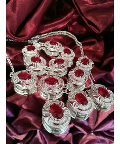 Vintage inspired silver set in red