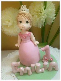 Adorno de torta, porcelana fria, princesa, festa infantil, menina, decoração, Candy Bar.