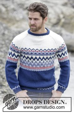 Knitted DROPS jumper for men with raglan and Norwegian pattern in Karisma or Merino Extra Fine. Worked top down. Size: S - XXXL. Free pattern by DROPS Design. Jumper Patterns, Sweater Knitting Patterns, Drops Design, Nordic Sweater, Men Sweater, Fair Isle Knitting, Free Knitting, Mode Masculine, Men's Knits