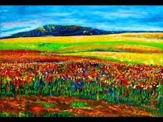 How I paint Sunrise in Wild Field Impressionist style Acrylic on Board by Rami Benatar - YouTube