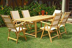 Mesa e cadeiras de madeira Tramontina