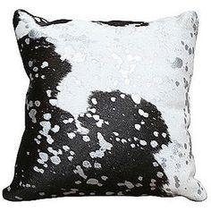 Splash 22x22 Hide Pillow Black Decorative Pillows