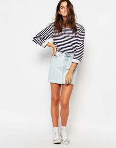 Pull&Bear High Waist Denim Mini Skirt