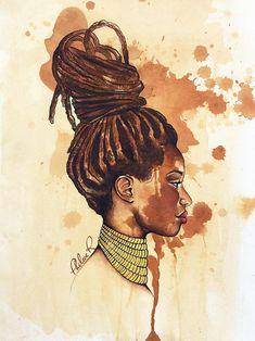 Limited edition print of the original Perfectly Flawed 2015 from the Adorn Her Collection. Black Love Art, Black Girl Art, Art Girl, Arte Black, Afrique Art, Natural Hair Art, Black Artwork, Afro Art, Magic Art