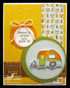 SC0651 Ai His and Hers Campers from Art Impressions. Hampton Arts clear stamp sets available at Michael's Craft Stores. camping handmade card masculine, trailer