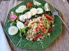 Using the season's harvest. Cilantro Couscous Salad     1 cup couscous   1 1/4 cup hot water or chicken broth   2 Tablespoons lime juice   2 Tablespoons olive oil   1 cup garbanzo beans   1/2 cup chopped red bell pepper   1/4 cup chopped cilantro   1/4 cup chopped green onion     Make coucous according to package directions. Add the remaining ingredients and season with salt and pepper. Toss the ingredients lightly to combine.