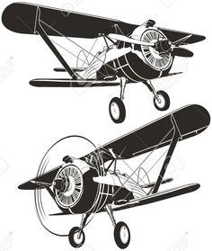 Biplan rétro de vecteur