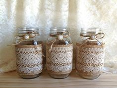 burlap and lace covered 3 mason jar vases wedding deocration, bridal shower, engagement, anniversary party decor