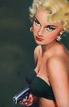 Blonde girl with a gun.