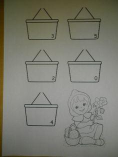 Roodkapje: Leg evenveel bloemen in het mandje