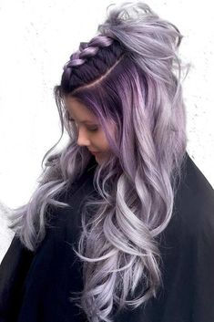 Dark Purple Roots Into Ash Hair Color ❤️ Dark purple hair: let us discuss the basics at first. This hair color is unnatural, that is, you cannot meet anyone who was born with such hair color. So, to get it, you need to get your hair dyed. Dark Purple Hair Color, Ombre Hair Color, Purple Hues, Hair Colour, Pink Yellow, Beautiful Hair Color, Cool Hair Color, Silver Ombre Hair, Silver Hair Colors