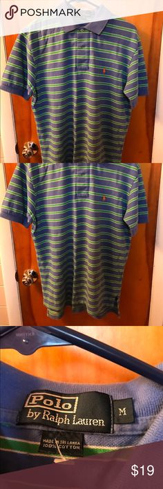 Ralph Lauren striped polo shirt. Size medium. Ralph Lauren striped polo shirt. Blue, green & white. Men's size medium. Ralph Lauren Shirts Polos
