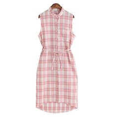 Vintage Plaid Sleeveless Loose Long Shirt Dress