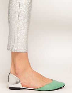 [ASOS LIBERTY Pointed Ballet Flats - ASOS] Not sure about the cutout, I think I'd prefer a solid shoe. But I do love the mint and silver together.
