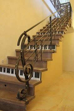 """Upstairs to the music room. Great bannister ends in the form of a ? no maker sorry. Railing Design, Stair Railing, Staircase Design, Stair Lift, Banisters, Railings, Escalier Art, Music Furniture, Stairway To Heaven"