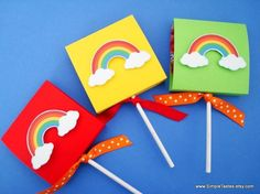 Rainbow Lollipop Covers Rainbow Party Favors Set by SimpleTastes