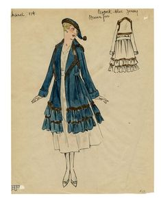 ca. 1917 - Coco Chanel coat, Sketch from the Max Meyer Collection