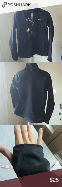 Nike Running Dry Fit Black Jacket Large Soft fleece material inside. Lightly used. To my knowledge washed in delicate and hanged dried.  89% Polyester  11% spandex. High neck. Full length zipper. 2 front zippered pockets. Thumb holes. 2 large inside pockets. RN#56323  please ask ? Nike Jackets & Coats