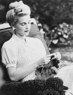 Stunning heiress Barbara Hutton knits for the Allied Cause.  Her knitting is picture perfect!