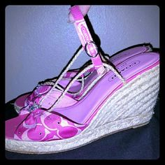Madison coach bling hot pink espadrille wedge heel Adorable! Perfect for summer. Hot magenta and baby pink monogram. Silky material. Large being rhinestone on toe. Peep toe. String detail goes up your foot and ties around ankle. Been worn a few times but awesome condition. Only shows wear on bottoms. Coach Shoes Espadrilles