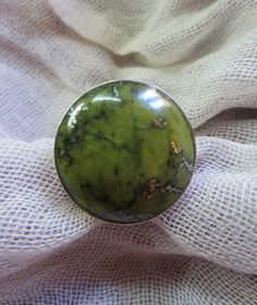 Serpentine and silver ring large serpentine stone set in by Perunz, $45.00