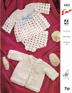 Emu 8422 matinee dress set vintage baby crochet pattern 5024723915200 on eBid United Kingdom