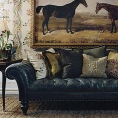 Richly-distressed indigo leather Chesterfield sofa by Ralph Lauren. Equestrian Decor, Equestrian Style, Equestrian Fashion, Sofas Vintage, Furniture Vintage, Leather Furniture, Wicker Furniture, Upholstered Furniture, Outdoor Furniture