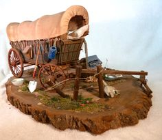 """Miniature Conestoga Wagon Scene -- I am so flattered that the editors of American Miniaturist magazine included my Miniature Conestoga Wagon Scene in the """"History Recorded In Miniature"""" issue. Click on the """"flip book"""" link if you want to read the article, which mainly about what you can do to improve a rather ho-hum miniature kit. Susan"""