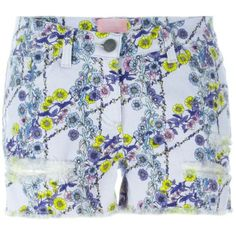 Giamba Floral Print Denim Shorts (425 AUD) ❤ liked on Polyvore featuring shorts, destroyed shorts, torn jean shorts, destroyed denim shorts, colorful shorts and denim short shorts